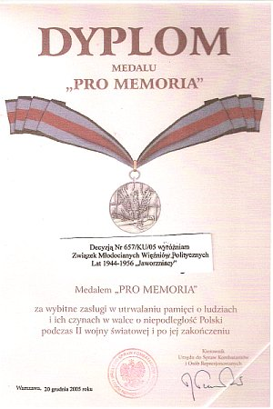 Dyplom Medalu